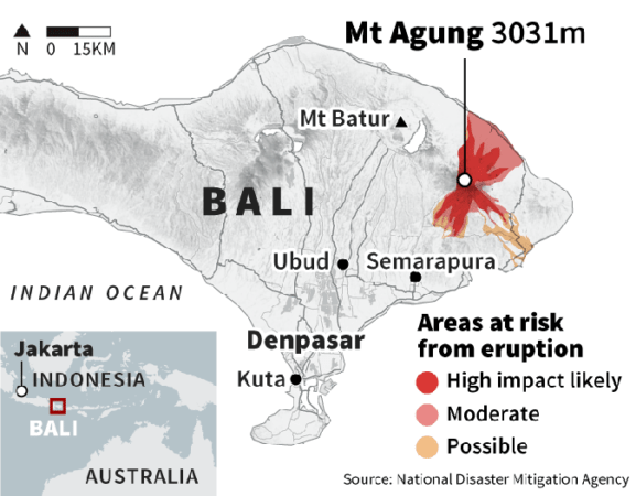 where is mount agung in bali
