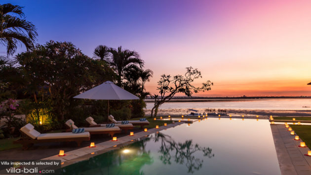 bali beach villa sunset