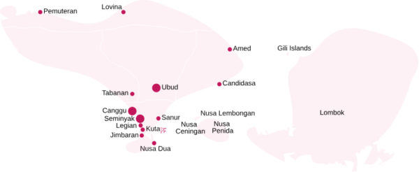 Bali areas map